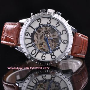 Handsome Popular Automatic Men′s Watches with Genuine Leather Strap Fs648