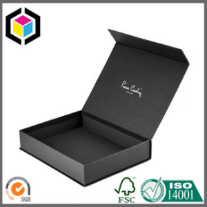 White Logo Luxury Black Cardboard Gift Box with Magnetic Close