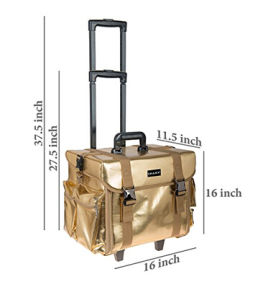 Fashionable Soft Rolling Trolley Cosmetic Case with Free Set of Mesh Bags pictures & photos