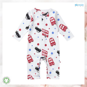 Combed Cotton Kids Clothes Car Printing Baby Playsuit