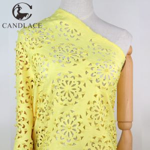 Yellow Color High Quality Laser Cut Lace Fabric for Aso Ebi Party Dress pictures & photos