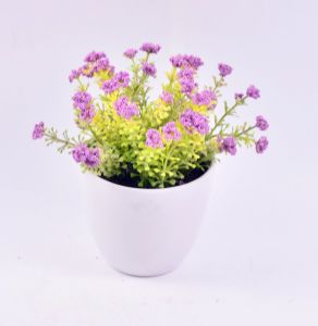 China Nice Artificial Flowers In White Plastic Pot Fro Home