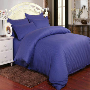 Stock Dark Blue Satin Stripe Bedding Comforter Cover Set for Hotel/Home (DPF1065) pictures & photos