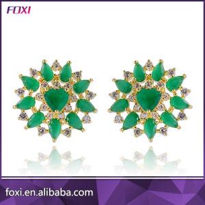 New Design Green Cubic Zirconia Stud Brazilian Gold Earrings