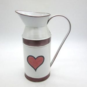 White Color Metal Tin Buckets with Heart Decor
