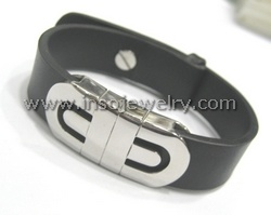 Stainless Steel Bangle Leather (BG0754)