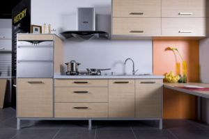 Melamine Faced Kitchen Design With Upper Cabinet And Lower Cabinet Shutter