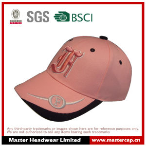 100% Cotton Pink Baseball Cap with 3D Embroidery