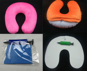 Velour Cover Inflatable Travel Pillow pictures & photos