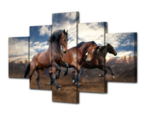 HD Printed Animals Running Horse 5 Piece Picture Painting Wall Art Canvas Print Room Decor Poster Canvas Mc-083 pictures & photos