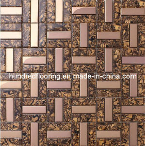 Glass Mix Stainless Steel Metal Mosaic Tile for Kitchen Backplash (SM207) pictures & photos