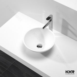 Kkr Solid Surface Resin Small Round Bathroom Furniture Wash Basin