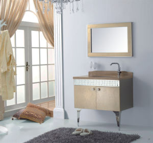 Bathroom Cabinet New Fashion Embossment Cabinet Design Bathroom Vanity Bathroom Furniture Bathroom Mirrored Cabinet (YB-802)