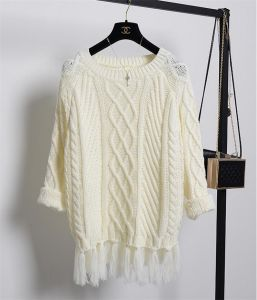 T1197 Round Neck Pullover Gentiana Long Sweater with Tassel pictures & photos