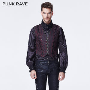 Punk Rave Red Cotton Gothic Printed Vest (Y-604/RD)