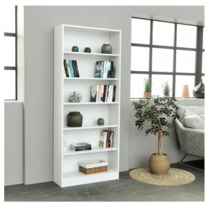 6 Tier Wooden Bookcase S Shape Storage Organizer Home Office White