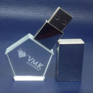 Triangle Crystal USB Pen Drive with Colorf LED Light pictures & photos