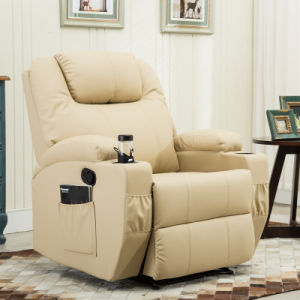 PU Leather Home Theater Chair Manual Recliner Sofa with Cup Holder
