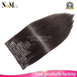 Clip in Human Hair Extensions Indian Body Wave Clip in Hair Extensions Natural Human Virgin Hair 7A Grade Free Shipping pictures & photos