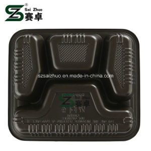 800ml Thicken 4 Compartment Disposable Plastic Lunch Tray pictures & photos