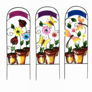 Colorful Metal Flowerpot Shaped Garden Decoration Fence W. Welcome
