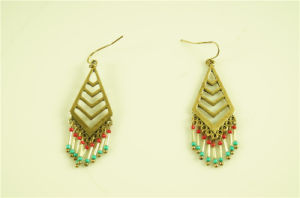 Chevorn Alloy Earring with Beads Strands