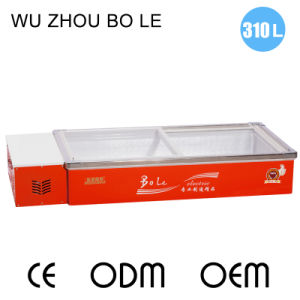 Two Glass Sliding Doors Desktop Display Freezer for Seafood