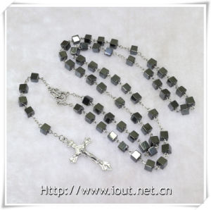 Hematite Beads Rosary, Catholic Magnet Beads Rosary with Saint Connector and Crucifix (IO-cr377) pictures & photos