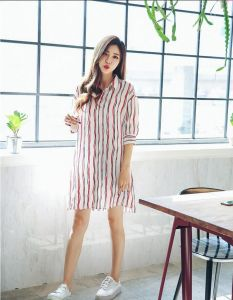 Summer Fashion V-Neck Stripe Ladies Shirt Dress pictures & photos