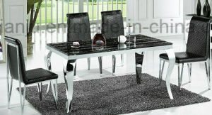 Modern Marble Dining Table with Stainless Steel Feet (A8013)