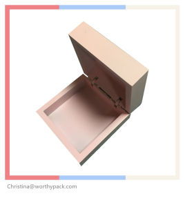 Pink Wooden Jewelry Box with Hingled Lid
