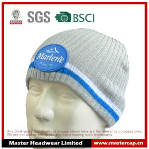 Knitted Hat Acrylic Beanie with Silicone Patch