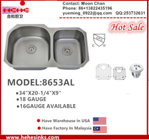 70/30 Undermount Stainless Steel Kitchen Sink with Cupc Certificate pictures & photos