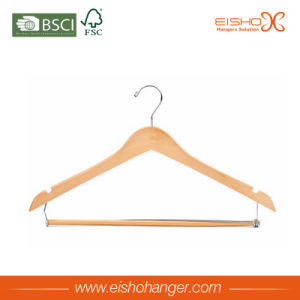 Natural Color Solid Wood Clothing Usage Apparel Hanger pictures & photos