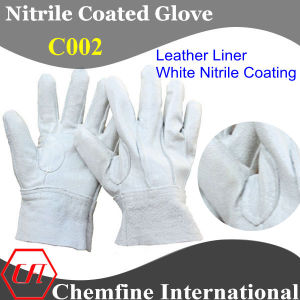 Leather Glove with White Nitrile Full Coating (C002) pictures & photos