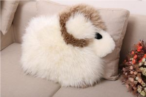 Cute Sheep Skin Stuffed Kids Toy Baby Animal Cushion Pillow