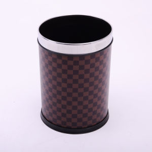 Brown Open Top PU Covered Round Waste Bin (A12-1903T)