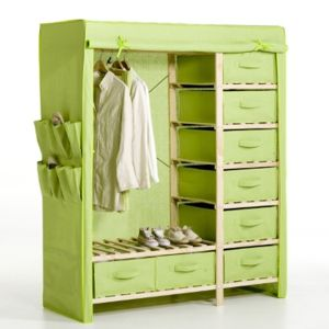 Wooden Clothes Closet With Cotton Canvas Cover