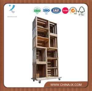 10 Apple Crate Display Unit on Wheels pictures & photos