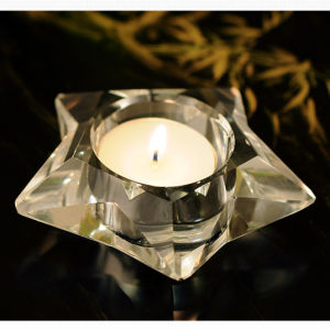Five-Star Shape Crystal Glass Candleholder Craft for Gift pictures & photos