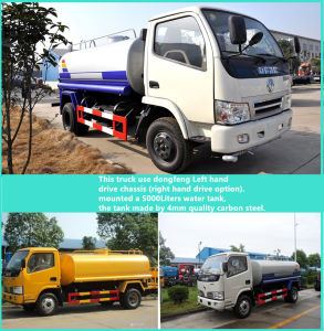 Dongfeng 4X2 LHD 3300mm Wheelbase 5000liters Water Tank Truck pictures & photos