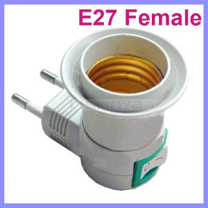 E27 LED Light Female Socket to EU Plug Adapter with Power on-off Control Switch pictures & photos