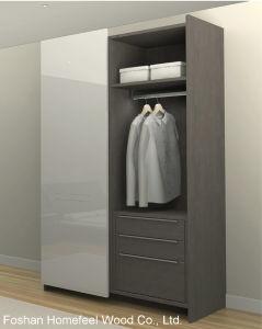 UV High Gloss 2 Doors Flush Sliding Door Wardrobe (HF-FS01)
