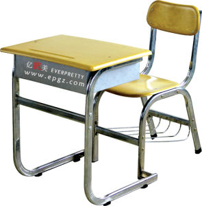 School Furniture High Quality Fixed Single Desk & Chair for Student pictures & photos