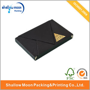 Luxury Black Hot Gold Stamping Postcard Packing Box (QY150090)
