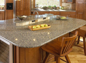 Cheap Brown Quartz Kitchen Countertop with Beveled Edge pictures & photos