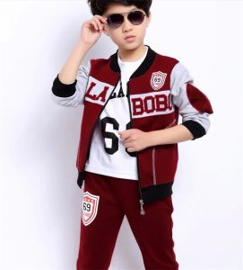 High Quality Casual Long Sleeve Sports Suit with Hood for Boys pictures & photos