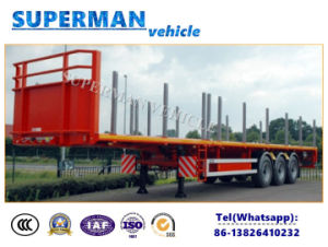 Tri Axle Cargo Truck Flatbed Trailer with Stake for Wood Carrier pictures & photos