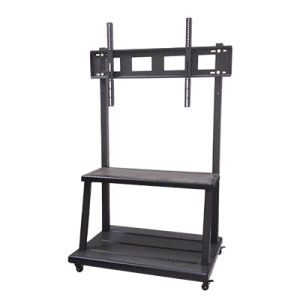 China Black Metal Portable Height Adjustable Large Mobile Av Cart
