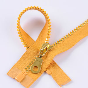 No. 5 Plastic Gold Zipper Open End with Discount pictures & photos